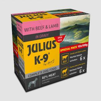 JULIUS-K-9-Beef-Lamb-valogatas-szoszban-kutyaknak-12x100g